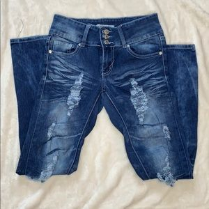 Thrill distressed skinny jeans